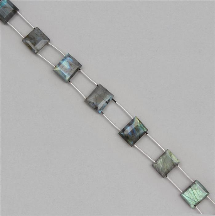 78cts Labradorite Graduated Double Drilled Faceted Rectangles Approx 11x8 to 15x10mm, 17cm Strand.