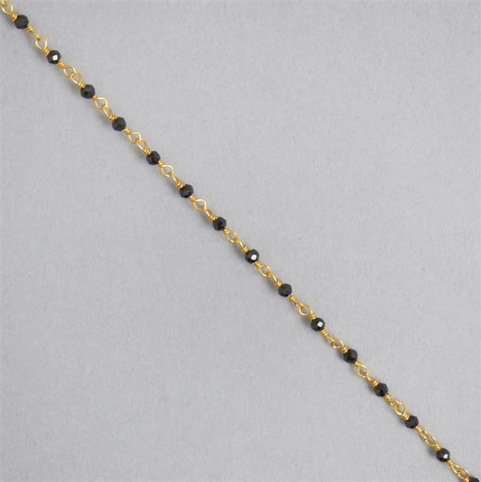 1m Gold Plated 925 Sterling Silver Chain Inc. 10cts Black Spinel Faceted Rondelles Approx 2x1mm