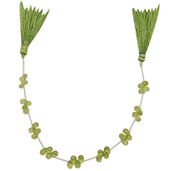 30cts Peridot Graduated Faceted Drops Approx 4x3 to 7x4mm, 16cm Strand.