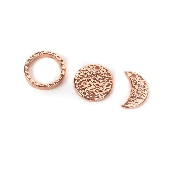 Rose Gold Hammered Plated Base Metal Moon Charm Set, Approx 12mm (3pcs)