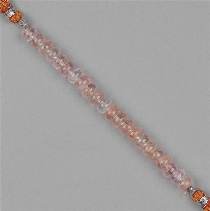 52cts Morganite Plain Rondelles Approx 7x4mm, 8cm Strand.