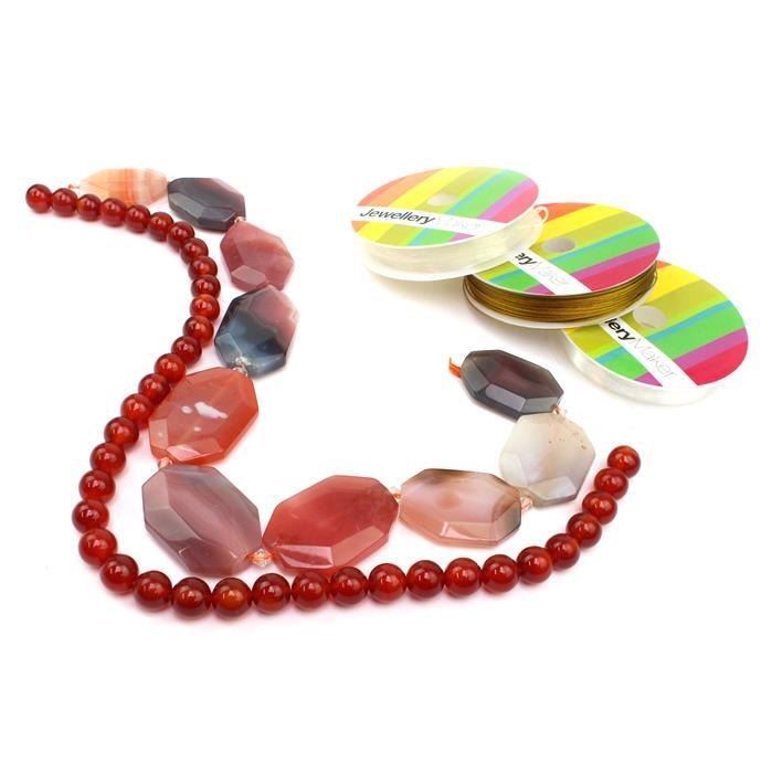 Cherry Bomb INC Red Agate Faceted Slabs, Red Agate Rounds & Gold Threading Pack