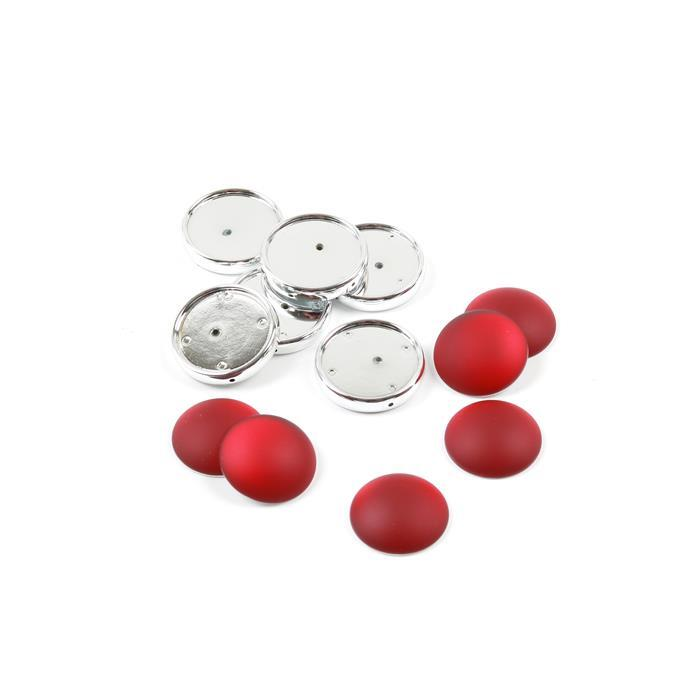 Cherry Luna Cabochons with Frame Approx 24mm (6pk)