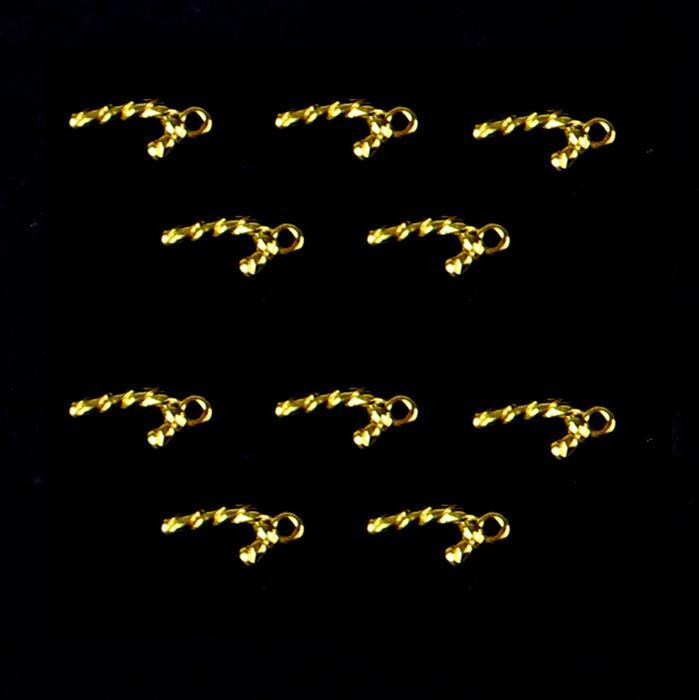 Gold Colour Base Metal Candy Cane Charms Approx 12x7mm (10pcs)