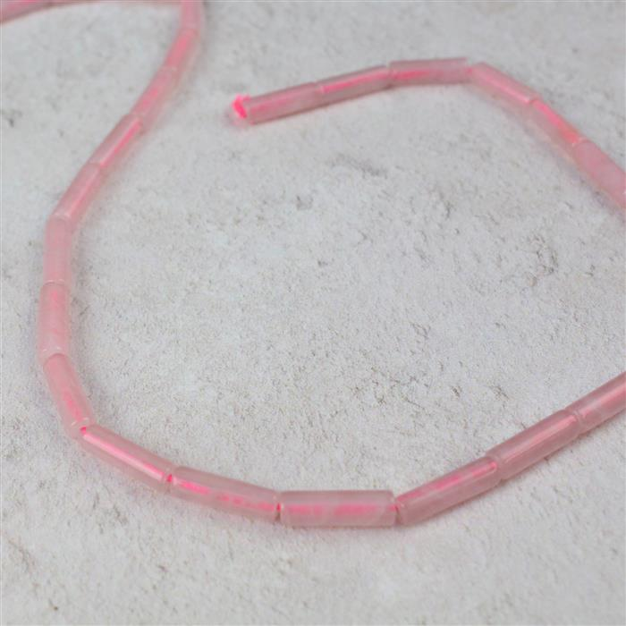 50cts Rose Quartz Tubes Approx 4x13mm, 38cm strand