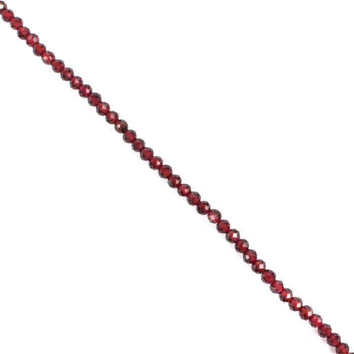 15cts Garnet Faceted Rounds Approx 3mm, 30cm strand