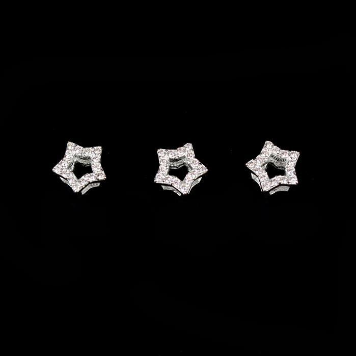 925 Sterling Silver Cubic Zirconia Star Spacers Approx 6mm, 3pcs