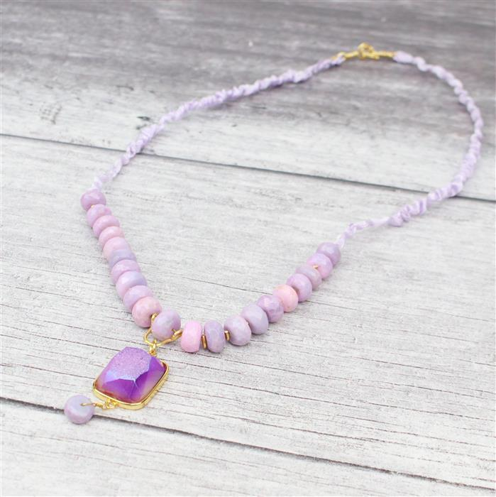 Ethereal INC White & Lilac Druzy Agate, Lavender Opal, Gold Findings & Threading Kit