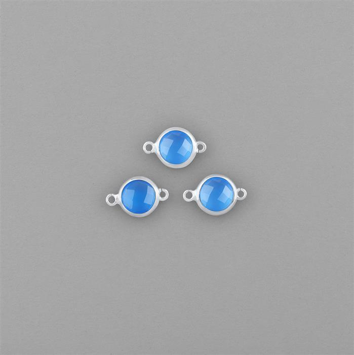 925 Sterling Silver High Polished Bezel Connectors Approx 12x8mm Inc. 3.50cts Blue Chalcedony Briolette Rounds 7mm. (3pcs)