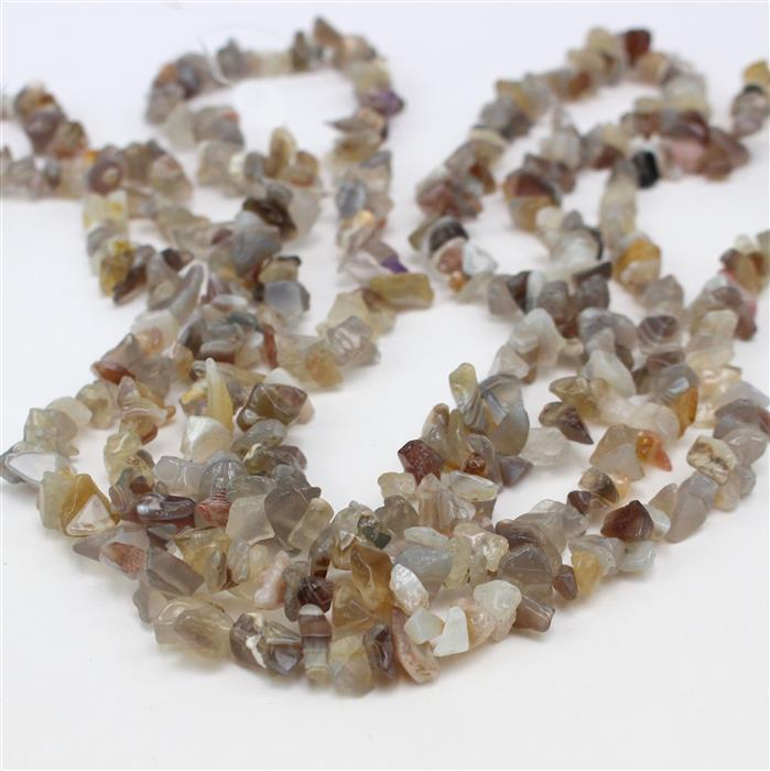 Agate Deal! Inc; 3 x 310cts Grey Agate Small Nuggets Approx 4x6 to 6x10mm, 82-86cm strand