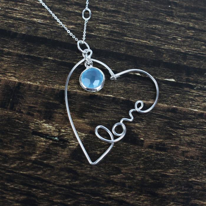 Ice Blue; 925 Sterling Silver Blue Chalcedony Connectors & Sterling Silver Wire
