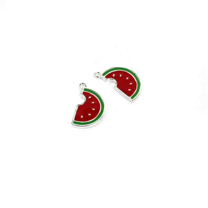 925 Sterling Silver Watermelon Slice Charms Approx 16x9mm (2pcs)