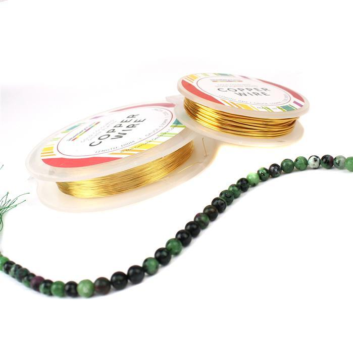 Feeling Festive: 55cts Ruby Zoisite, & 104m Gold Plated Copper Wire