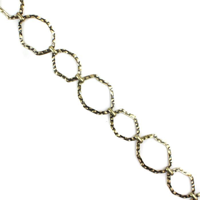 Antique Bronze Plated Hammered Copper Fancy Loop Chain - 39x30 & 32x24mm (1m)