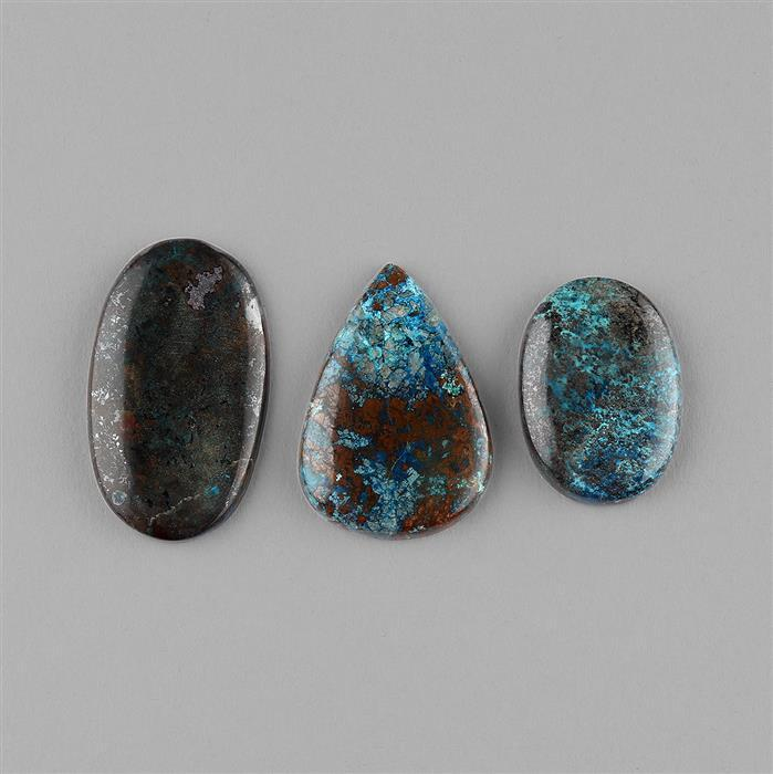 122cts Chrysocolla Multi Shape Cabochons Assortment. (3pcs)