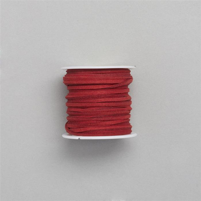 5m Red Suedette Cord Approx 1.4x2.5mm