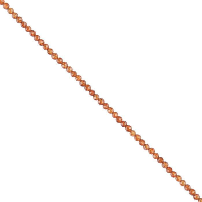 30cts Hessonite Garnet Faceted Rounds Approx 3mm, 30cm Strand.