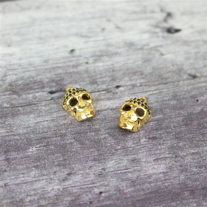 Gold Plated 925 Sterling Silver  and  Black Cubic Zirconia Skull Charm 6x10mm 2pk