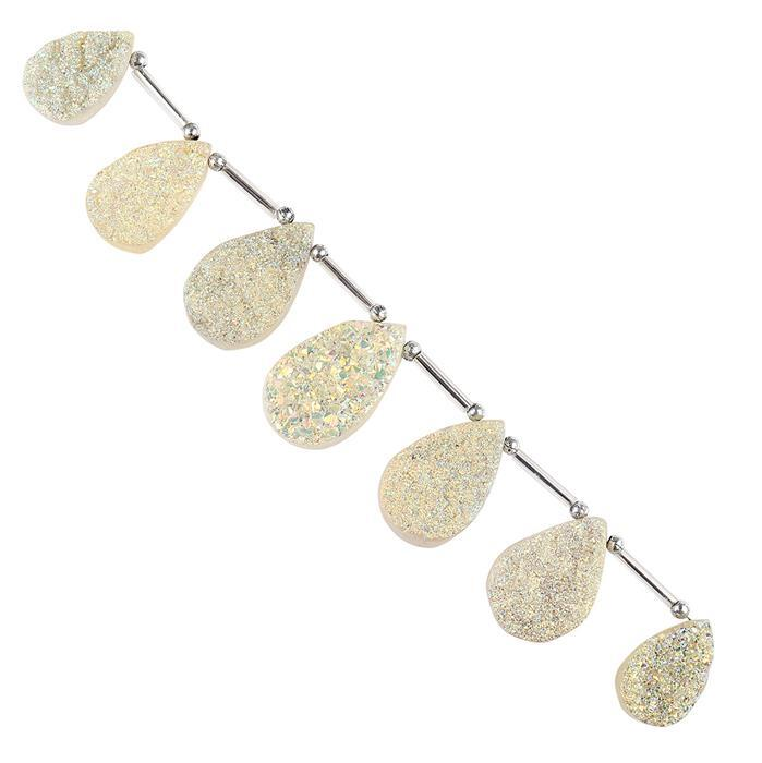 168cts Yellow Gold Colour Coated Druzy Quartz Graduated Top Drilled Pears Approx 19x12 to 27x17mm, 14cm Strand.