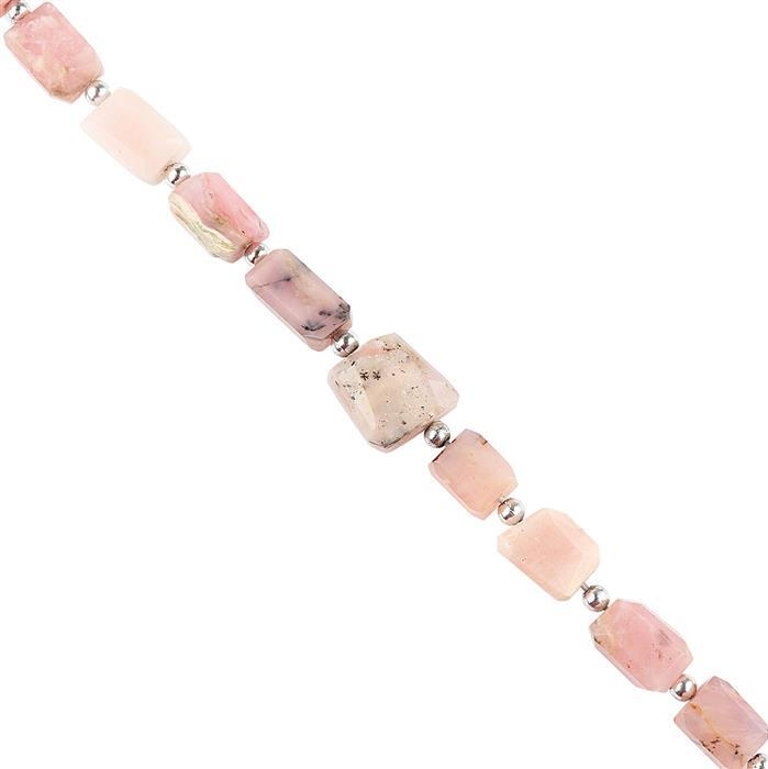 94cts Pink Opal Graduated Medium Faceted Nuggets Approx 11x8 to 14x9, 16cm Strand.