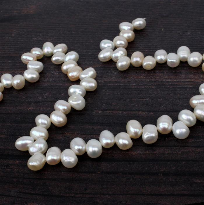White Top Drilled Freshwater Cultured Pearls Approx 8x6.5mm