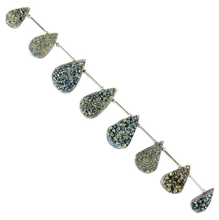172cts Olive Green Colour Coated Druzy Quartz Graduated Top Drilled Pears Approx 16x10 to 24x14mm, 14cm Strand.