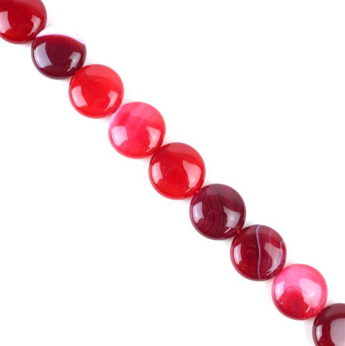 300cts Cerise Stripe Agate Puffy Coins Approx 16mm, 38cm/strand