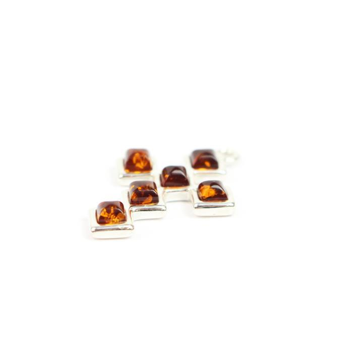 Baltic Cognac Amber Square Cross Sterling Silver Element Approx 25x16mm