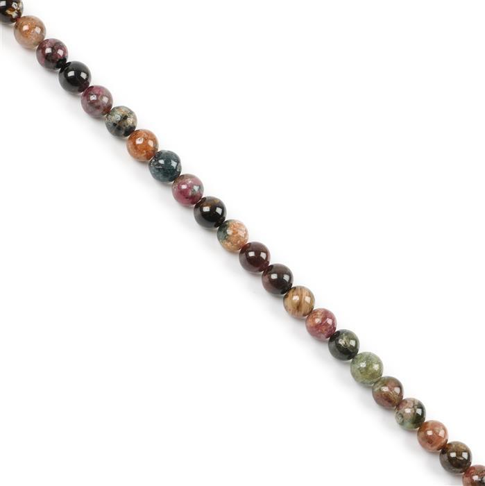 160cts Multi-Colour Tourmaline Plain Rounds Approx 8mm 38cm strand
