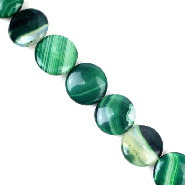 340cts Green Stripe Agate Puffy Coins Approx 20mm, 38cm/strand