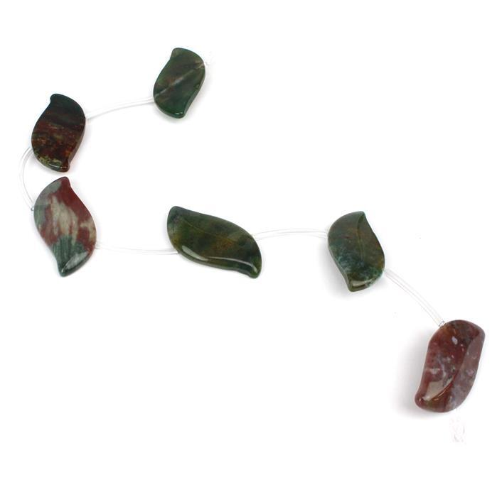 120cts Fancy Jasper Fancy Leaves 6pcs, Approx 18x35mm, 20cm