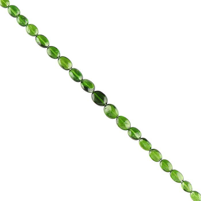 25cts Chrome Diopside Graduated Plain Ovals Approx 5x4 to 8x6mm, 18cm Strand.