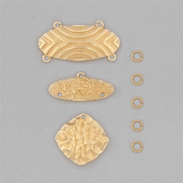 High Polished Brass Oval Dangling Pendant Connectors Set - (8pcs/pk)