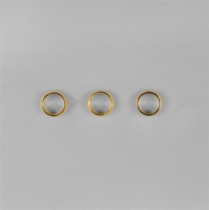 Gold Plated 925 Sterling Silver Round Ring Spacers Approx 3.4*5mm, 3pcs
