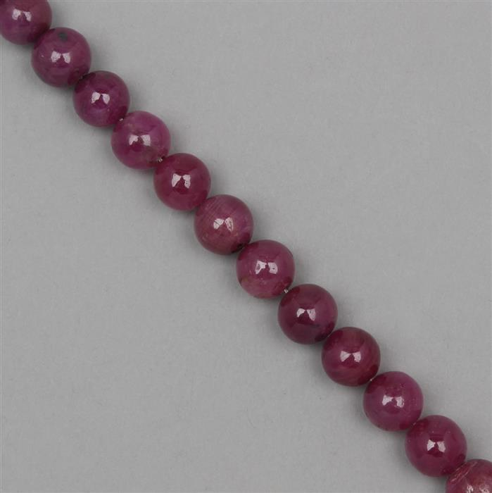 195cts Ruby Rounds Approx 10mm, 17cm Strand.