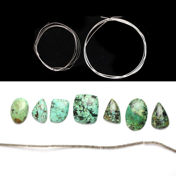 Tantalising Turquoise; 142cts Turquoise Multi Shape Cabochons, Sterling Silver Wire & More