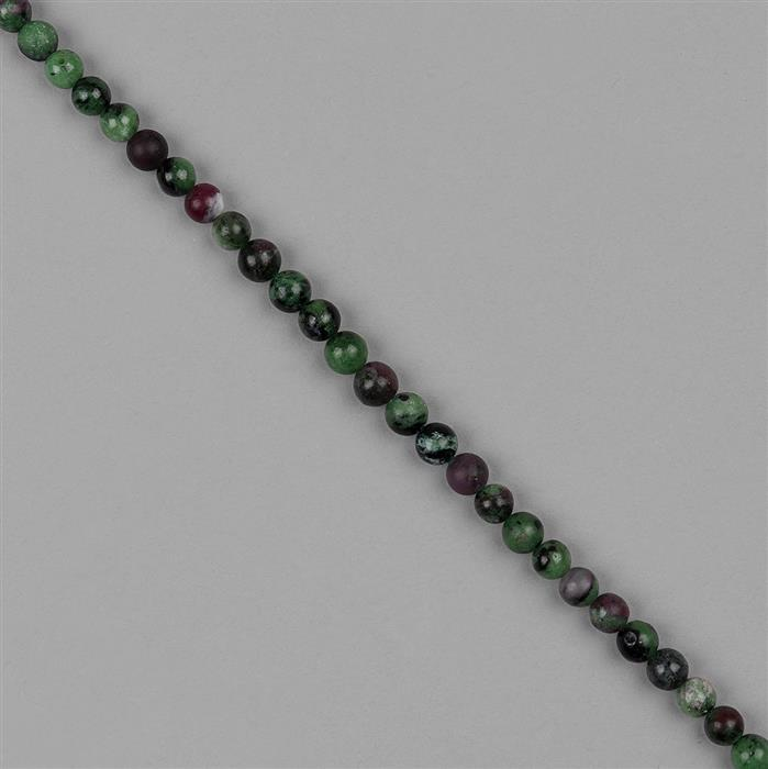 55cts Ruby Zoisite Plain Rounds Approx 6mm, 18cm Strand.