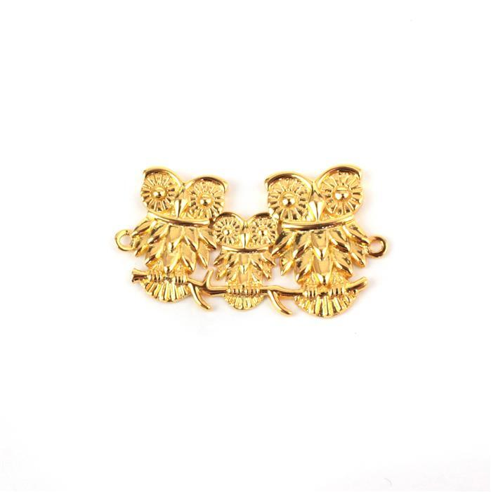 Gold Plated 925 Sterling Silver Owl Family Connector Approx 30x20mm 1pk