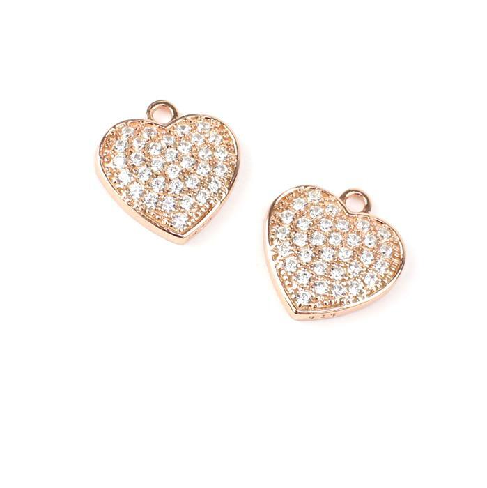 Rose Gold Plated True Love Collection Large Heart Charms 925 Sterling Silver and CZ Approx 15mm 2pk