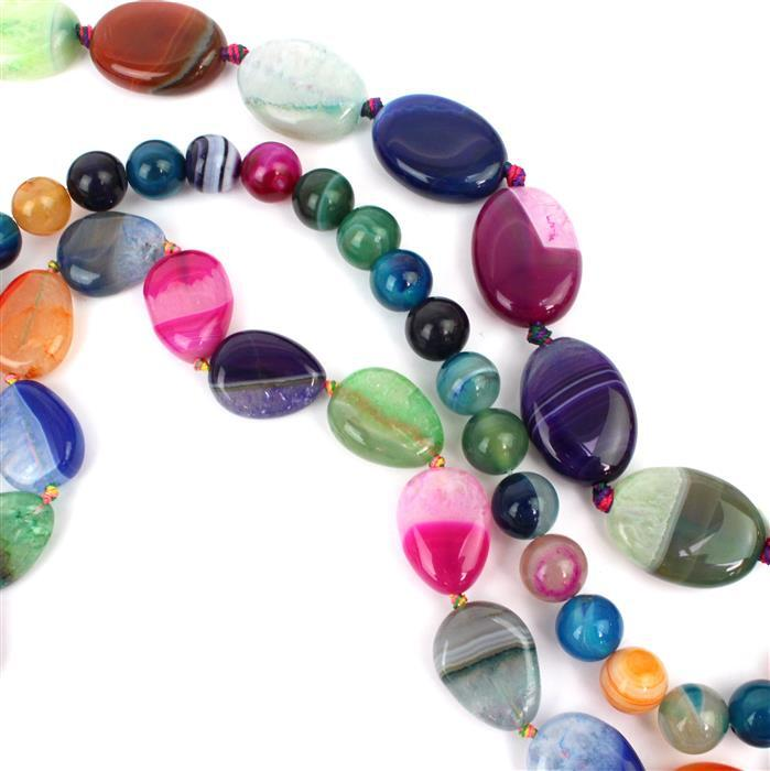 Rainbow Strands! Inc; Multi-Colour Agate Plain Rounds, Puffy Pears & Puffy Ovals