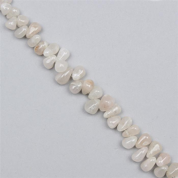 100cts White Agate Graduated Irregular Plain Drops Approx From 4x3 to 8x5mm, 30cm Strand.