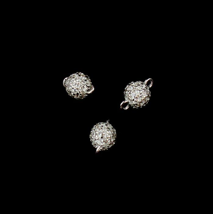 925 Sterling Silver Cubic Zirconia Cluster Connector approx 5mm,3pcs