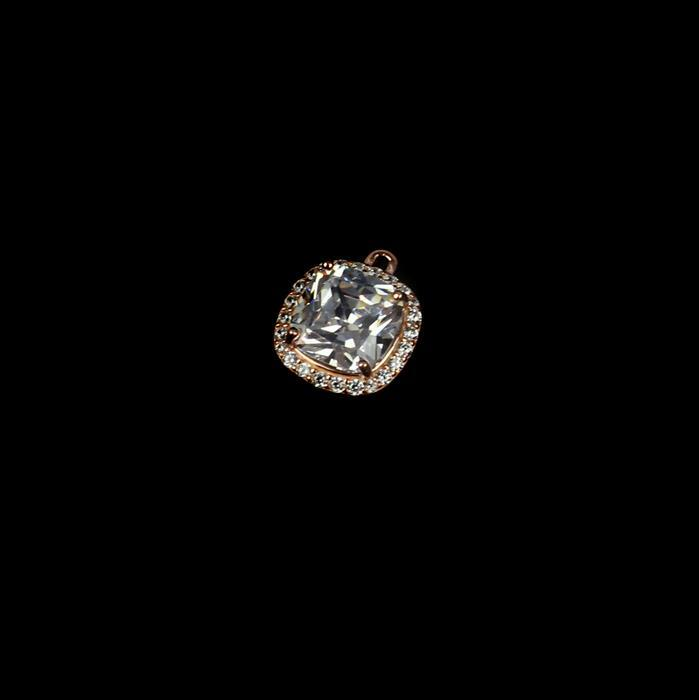 Rose Gold Plated 925 Sterling Silver Cubic Zirconia Cushion Shaped Large Pendant Approx 15mm,1pcs
