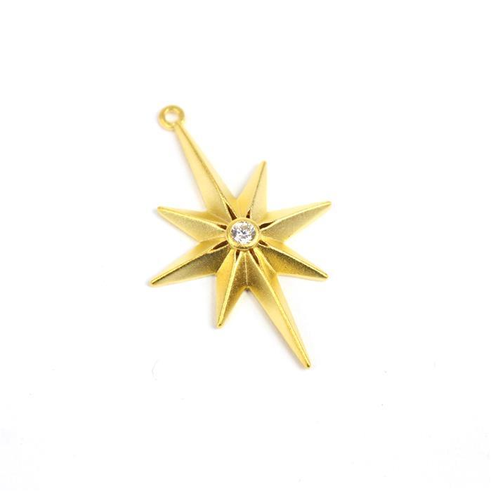 Gold Plated 925 Sterling Silver North Star Pendant With CZ Approx 31x20mm