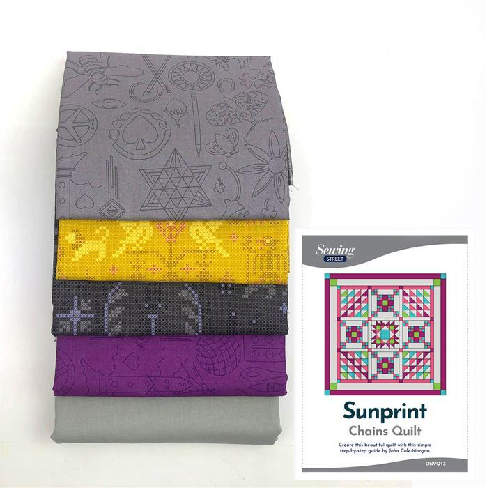 Grey Sunprints Chain Quilt Kit: Instructions, Fabric (6.5m)
