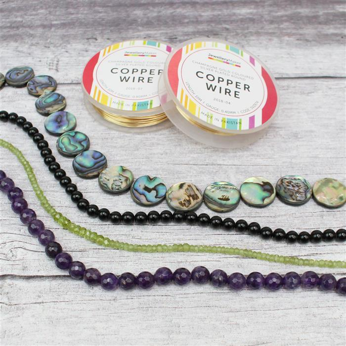 Midnight INC Abalone flat coins, Black Obsidian Rounds, Amethyst Faceted Rounds & Peridot