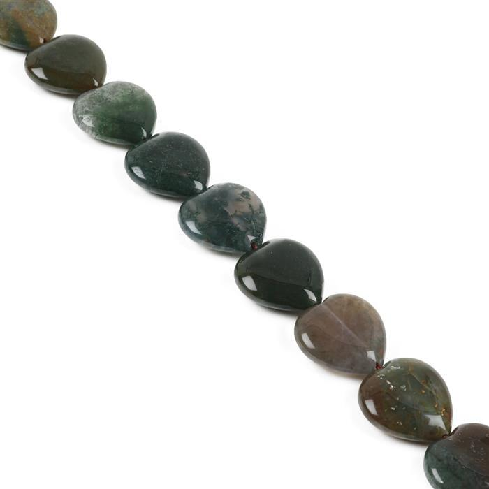 350cts Fancy Jasper Puffy Hearts Approx 20mm, 38cm Strand