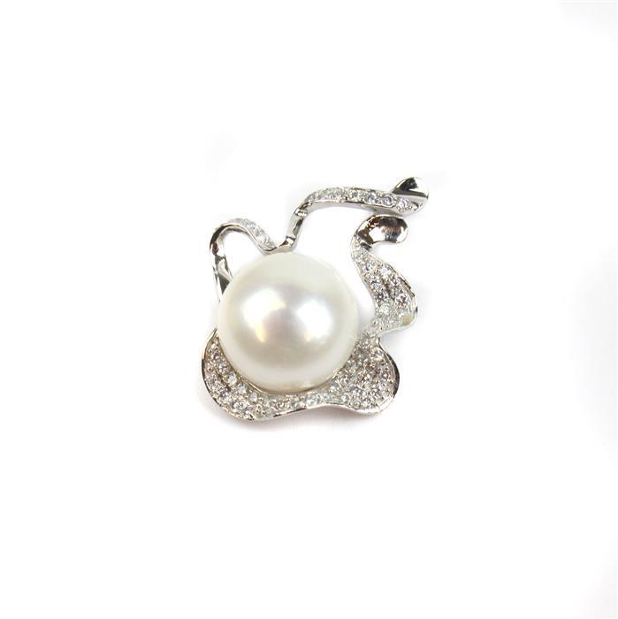 925 Sterling Silver Sparkle Pendant with White Freshwater Pearl & Cubic Zirconia Setting Approx 29x24mm(Pearl Approx 13mnm)