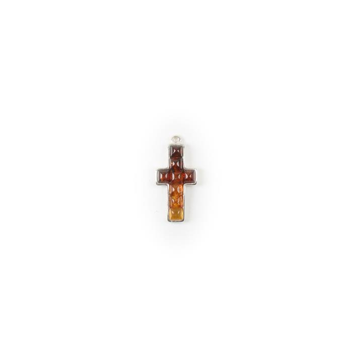 Baltic Multicolour Amber Sterling Silver Cross Pendant Finding - 21x11mm