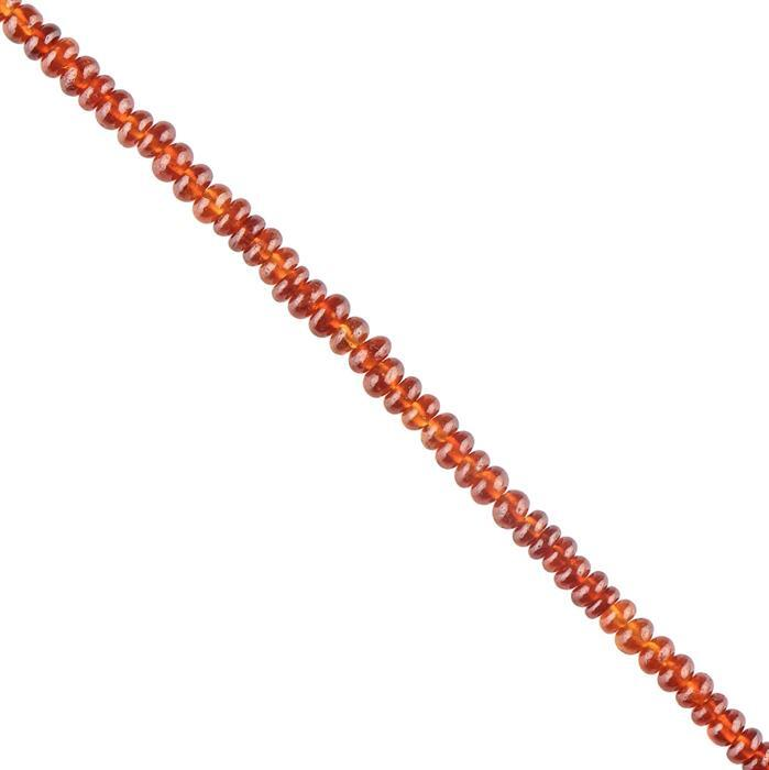 60cts Hessonite Garnet Graduated Plain Rondelles Approx 2x1 to 4x3mm, 40cm Strand.